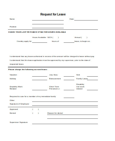 leave request form sample