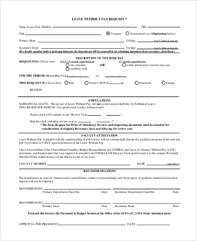 leave without pay request form