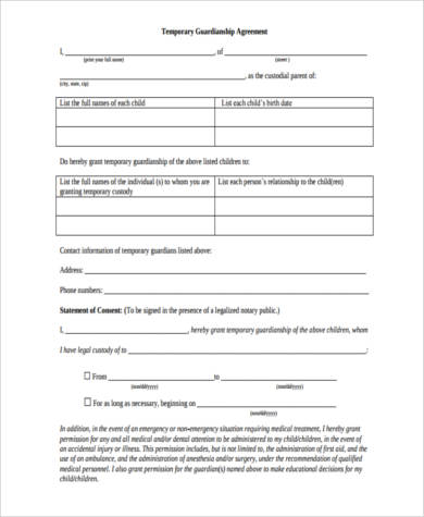 Sample Legal Guardianship Forms 9 Free Documents In Word Pdf