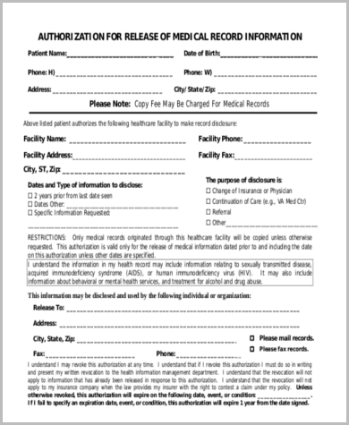 legal medical release form