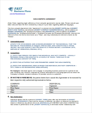 legal non compete agreement form doc