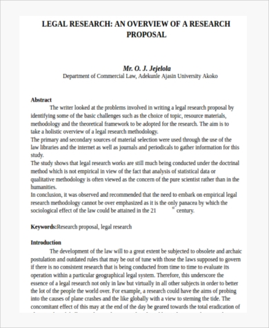 legal research paper proposal