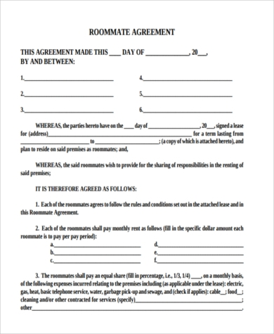 Sample Roommate Contract   Free Documents In Pdf