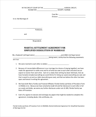 Sample Separation Agreement Forms 8 Free Documents In Pdf