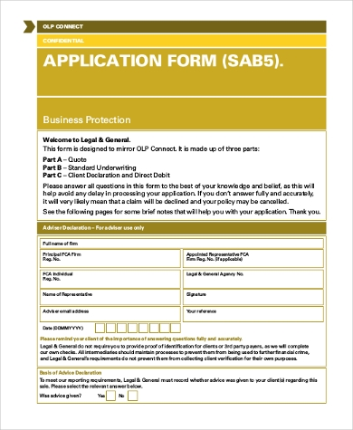 legal and general application form
