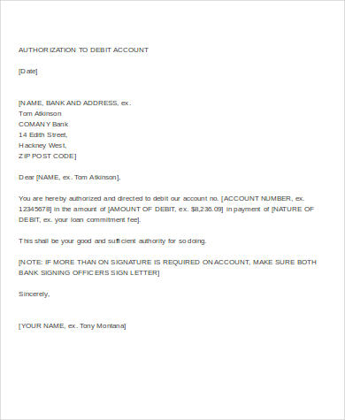 letter of authorization to debit account