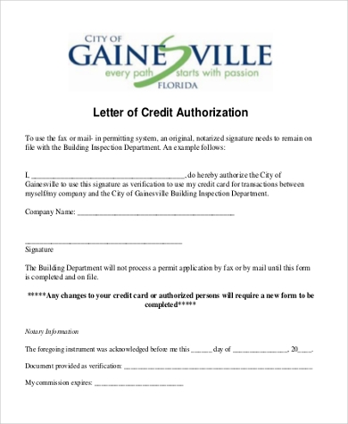 letter of credit authorization form example