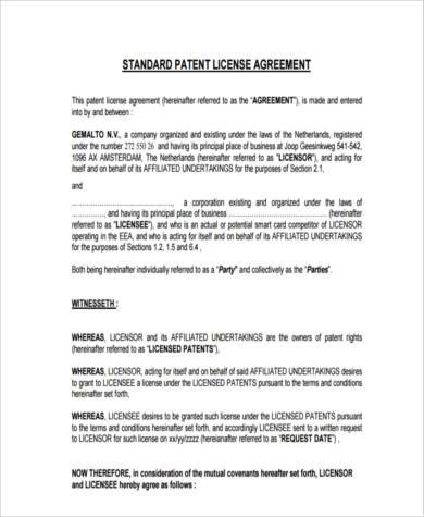 license agreement form example