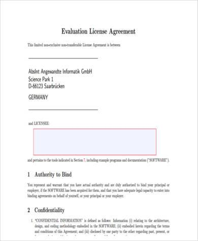 license agreement form in pdf