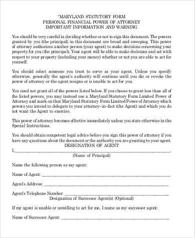Limited Power Of Attorney Form Samples   Free Documents In Word Pdf