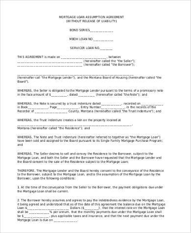 loan assumption agreement form