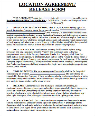 location agreement release form