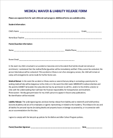Medical Waiver Form Samples   Free Documents In Word Pdf