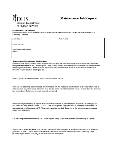 Sample Maintenance Request Form   Free Documents In Word Pdf
