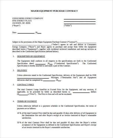 major equipment purchase contract form