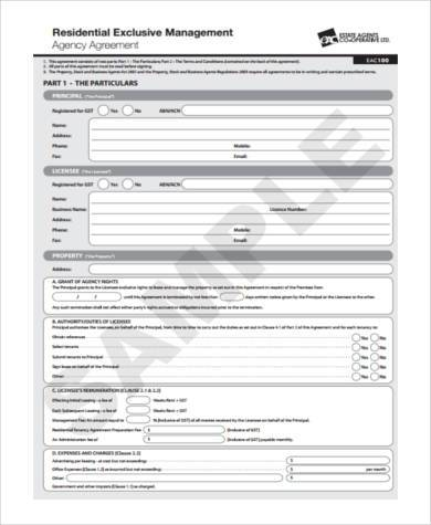 management agency agreement form