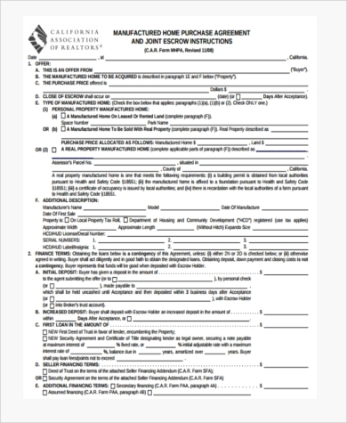 Home Purchase Agreement Sample   Free Documents In Word Pdf