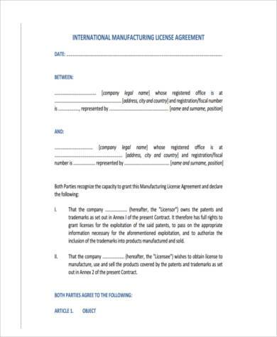 manufacturing license agreement form
