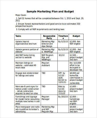 marketing budget form in word format