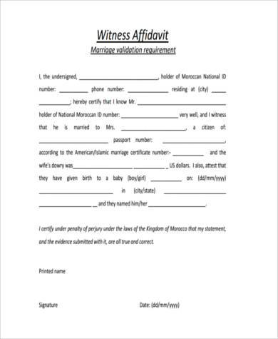 Witness Affidavit Form Samples  Free Sample Example Format Download