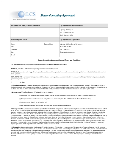 Consultant Agreement Form Samples   Free Documents In Word Pdf