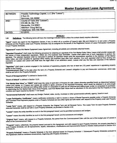 master equipment lease form