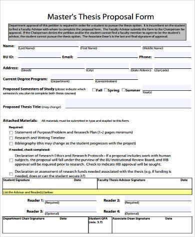masters thesis proposal form