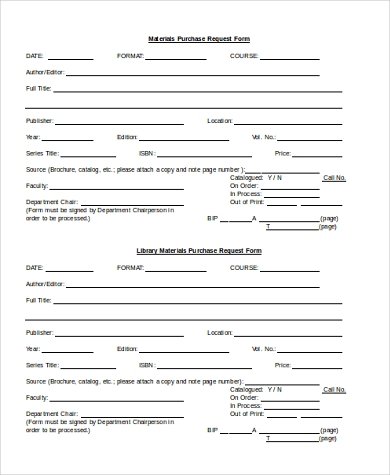 material purchase request form