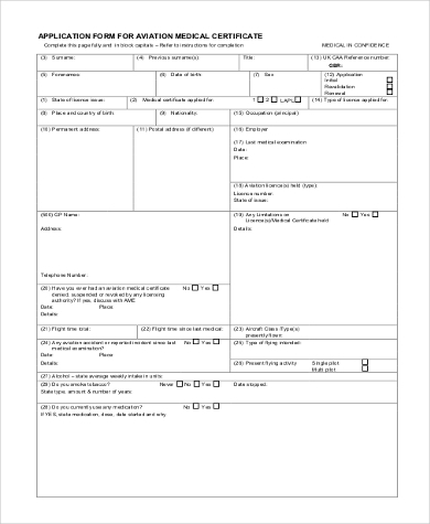 medical certificate application form