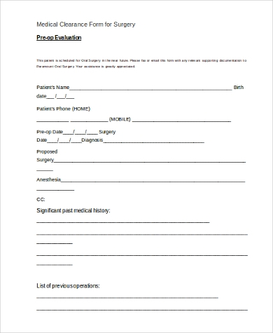 medical clearance form for surgery