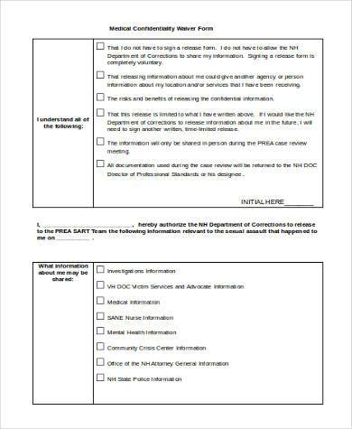 medical confidentiality waiver form