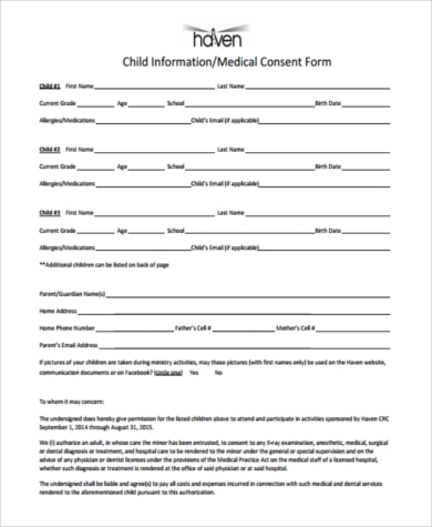 medical consent form for child