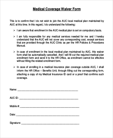 Injured Spouse Form Medical Coverage Waiver Form Medical Waiver