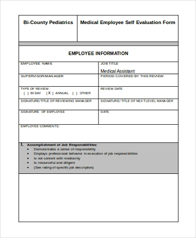 Employee Self Evaluation Form Sample   Free Documents In Word Pdf