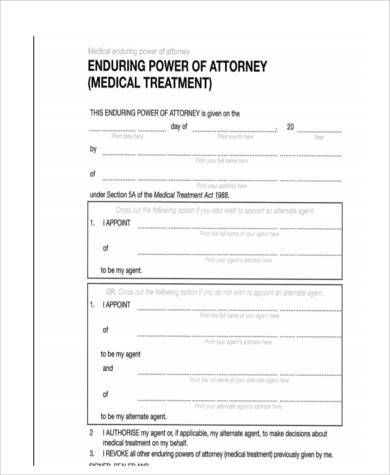 medical enduring power of attorney form
