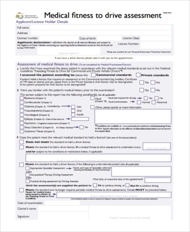 medical fitness assessment form