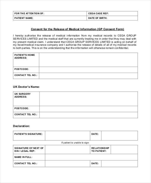 medical information consent form