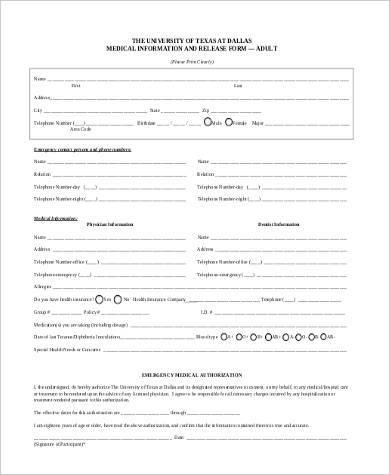 medical information release form example