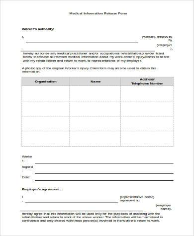 medical information release form in word format
