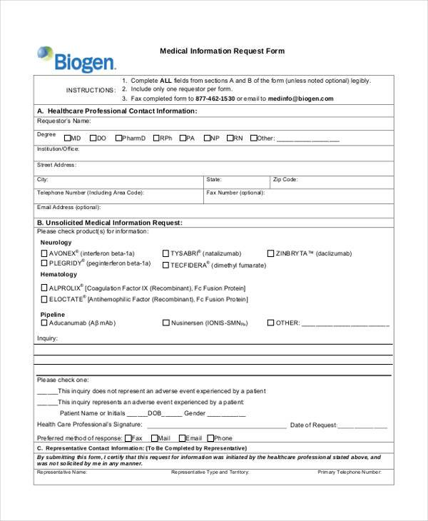 Sample Medical Information Forms   Free Documents In Word Pdf
