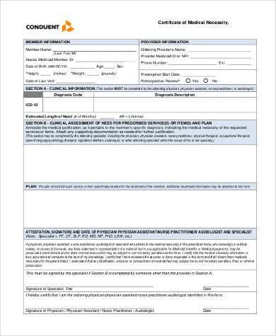 medical necessity certification form2