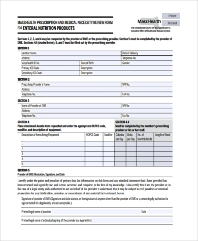 Sample Medical Necessity Form   Free Documents In Pdf