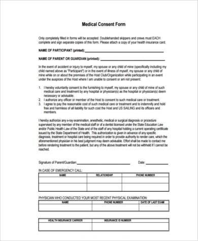 medical permission consent form
