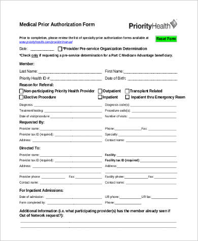 medical prior authorization form in pdf
