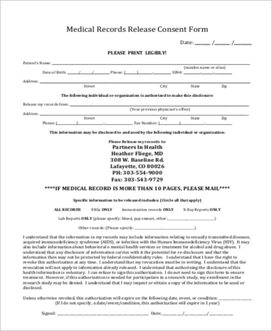 medical record release consent form