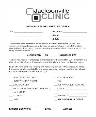 Medical Records Request Form Samples   Free Documents In Word Pdf