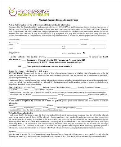 medical records release request form2