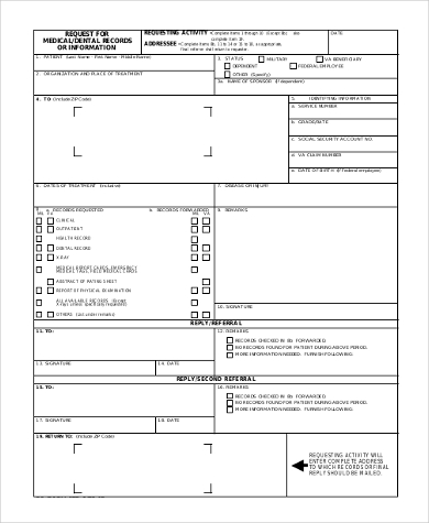 medical records request dd form example
