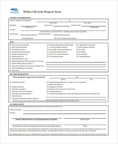 medical records request form in word format