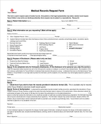 Sample Medical Records Release Forms   Free Documents In Word Pdf